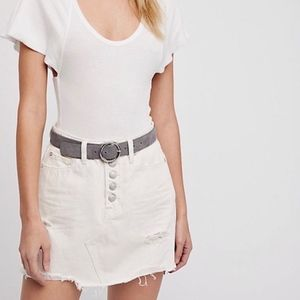 Free People Ripped/Raw Hem Cream Denim Skirt, NWT